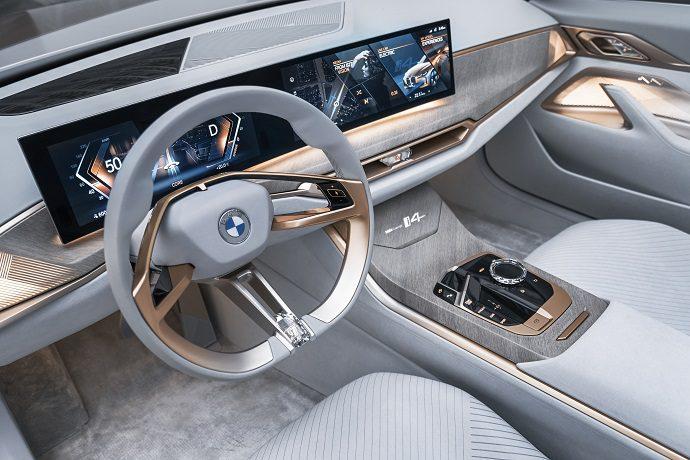 BMW i4 concept, przyspieszenie, moc, pojemność baterii, wnętrze