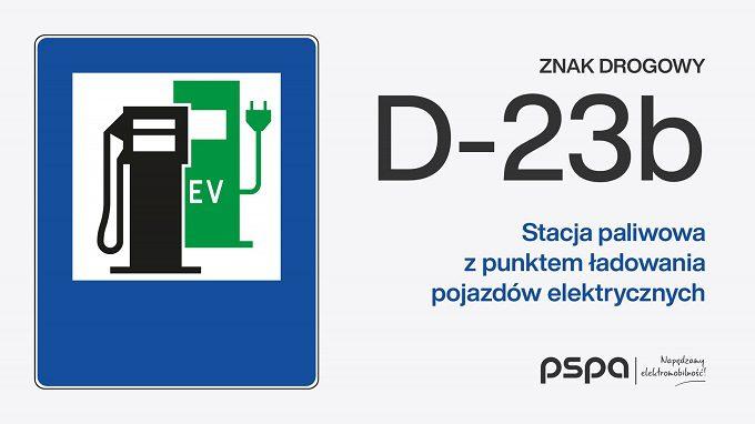 Stacja paliwowa z punktem ładowania pojazdów elektrycznych D-23b